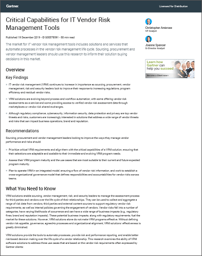 Gartner Critical Capabilities IT Vendor Risk Management